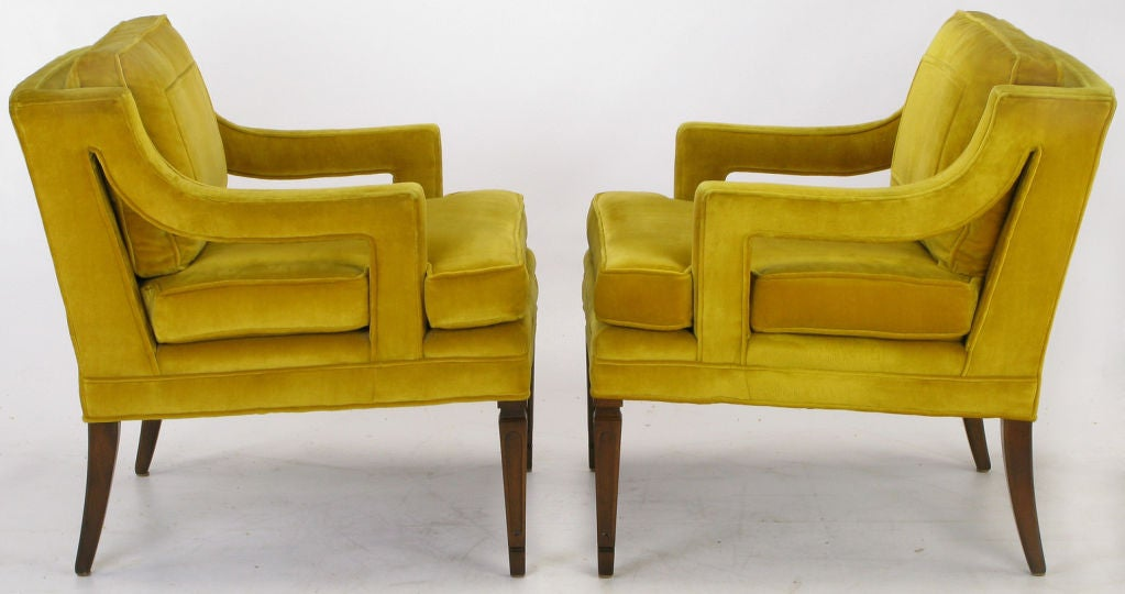 Pair Saffron Velvet Upholstered Open Arm Regency Club Chairs. 1