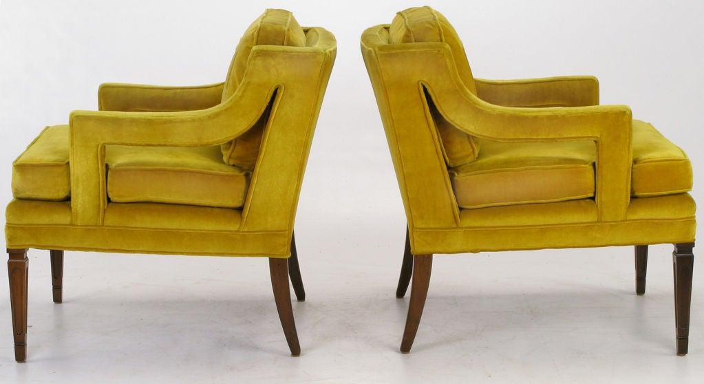 Pair Saffron Velvet Upholstered Open Arm Regency Club Chairs. 2