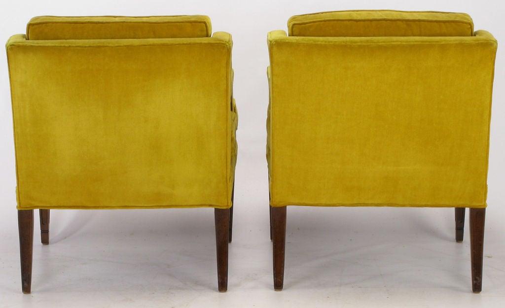 Pair Saffron Velvet Upholstered Open Arm Regency Club Chairs. 3