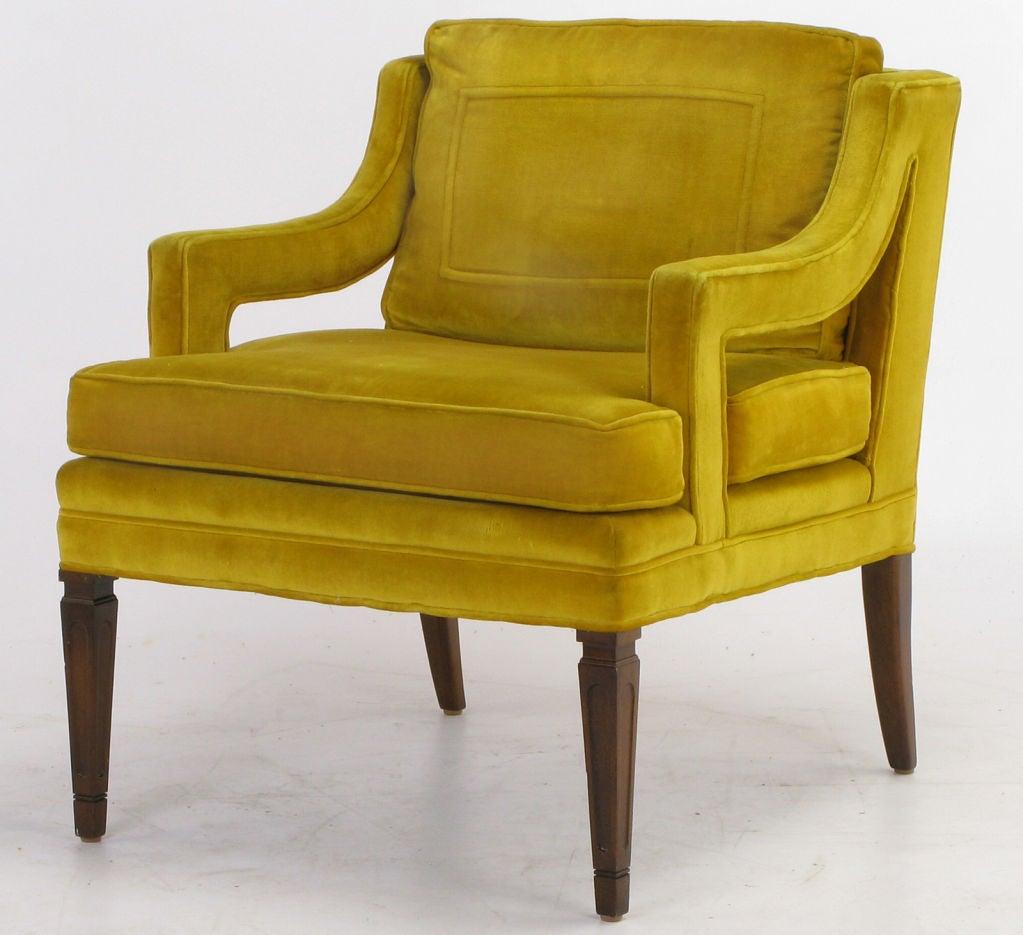 Pair Saffron Velvet Upholstered Open Arm Regency Club Chairs. 4