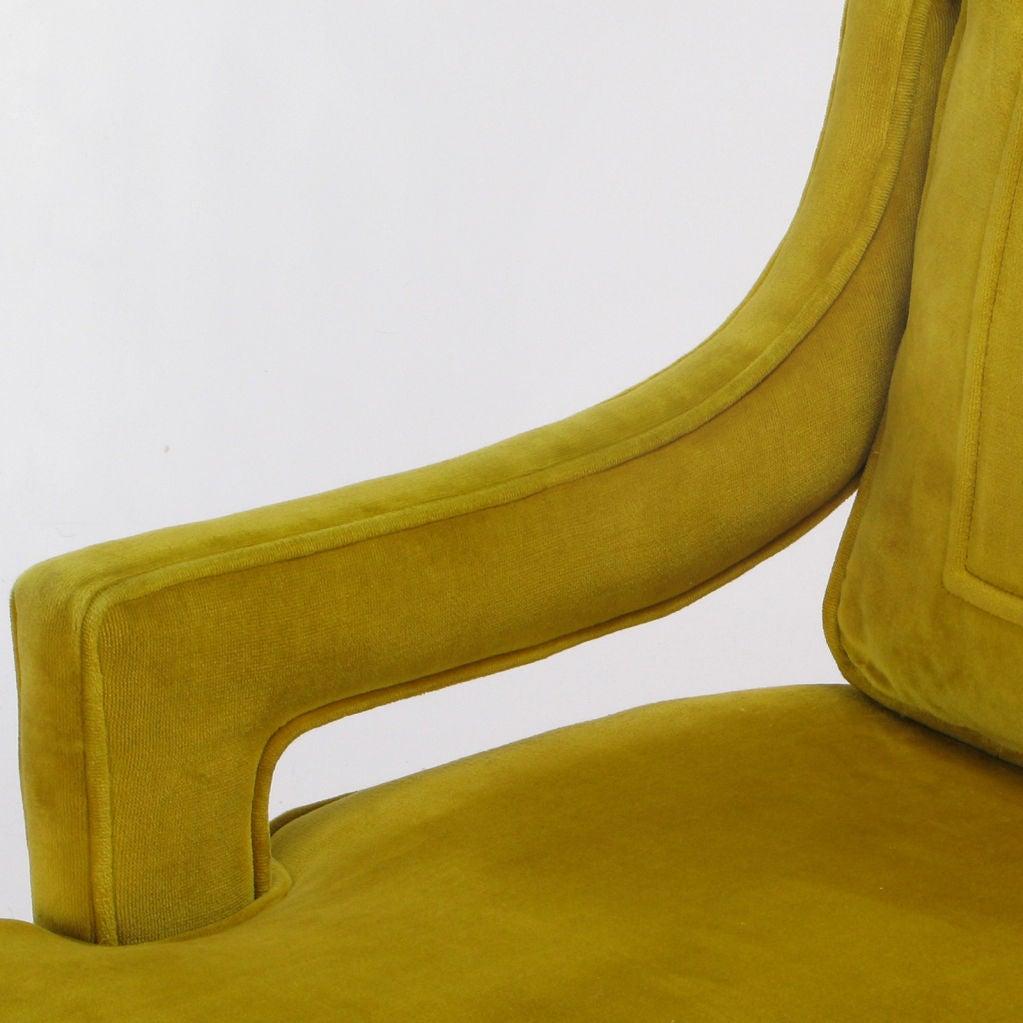 Pair Saffron Velvet Upholstered Open Arm Regency Club Chairs. 5