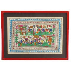 Hand Painted Folk Art Tapestry of A Mexican Village