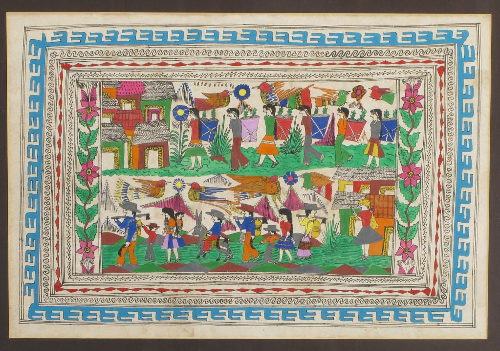 Hand Painted Folk Art Tapestry Of A Mexican Village At 1stdibs