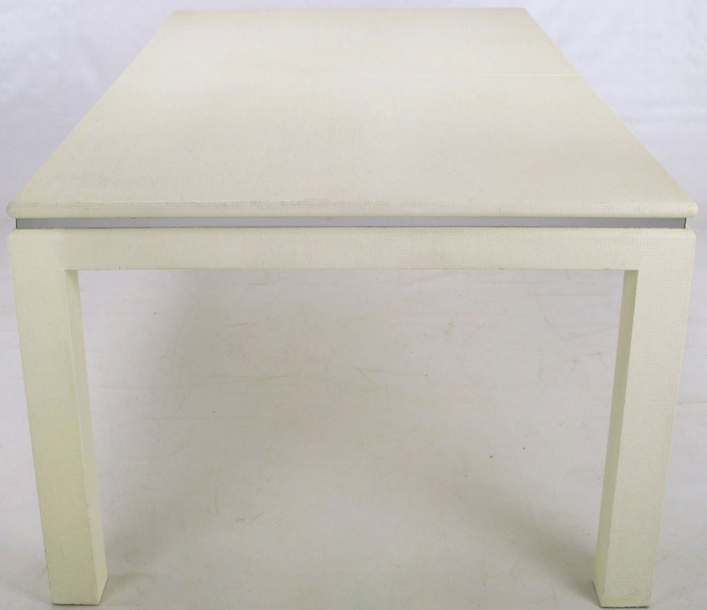 White Lacquer Dining Table : White Lacquer and Linen Wrapped Parsons Dining Table at 1stdibs