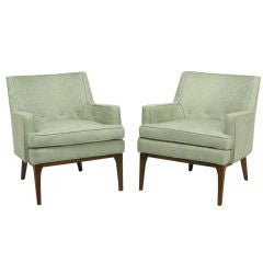 Pair Curved Back Club Chairs With Button Tufted Upholstery
