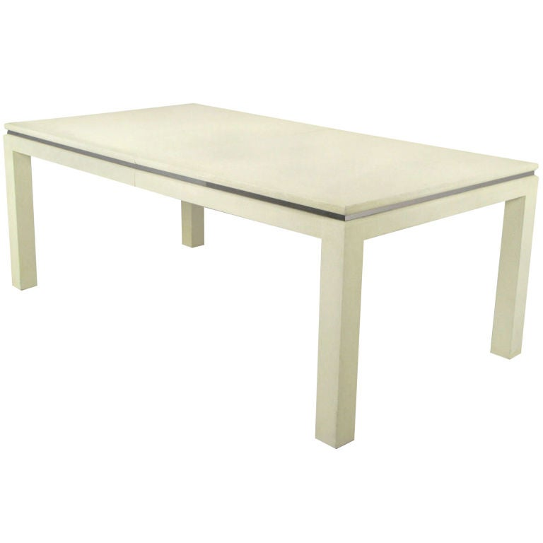 White Lacquer Linen Wrapped Parsons Dining Table