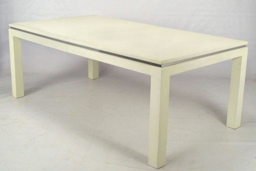 White lacquer linen wrapped parsons dining table image 2 for White lacquer dining table