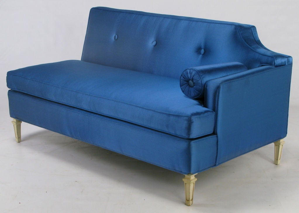 Custom Royal Blue Silk Two Piece Sectional Sofa At 1stdibs