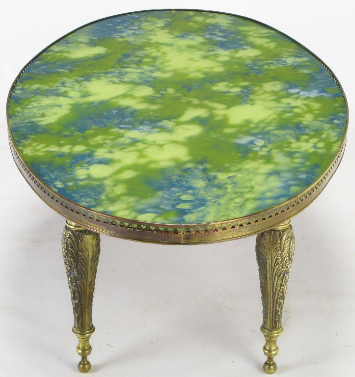 Oval Brass Cocktail Table With Reverse Painted Glass Top