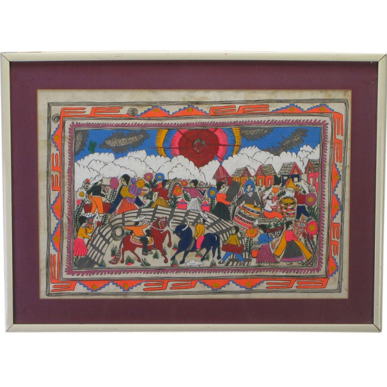 Mexican Amate Hand Painted Folk Art Painting For Sale At