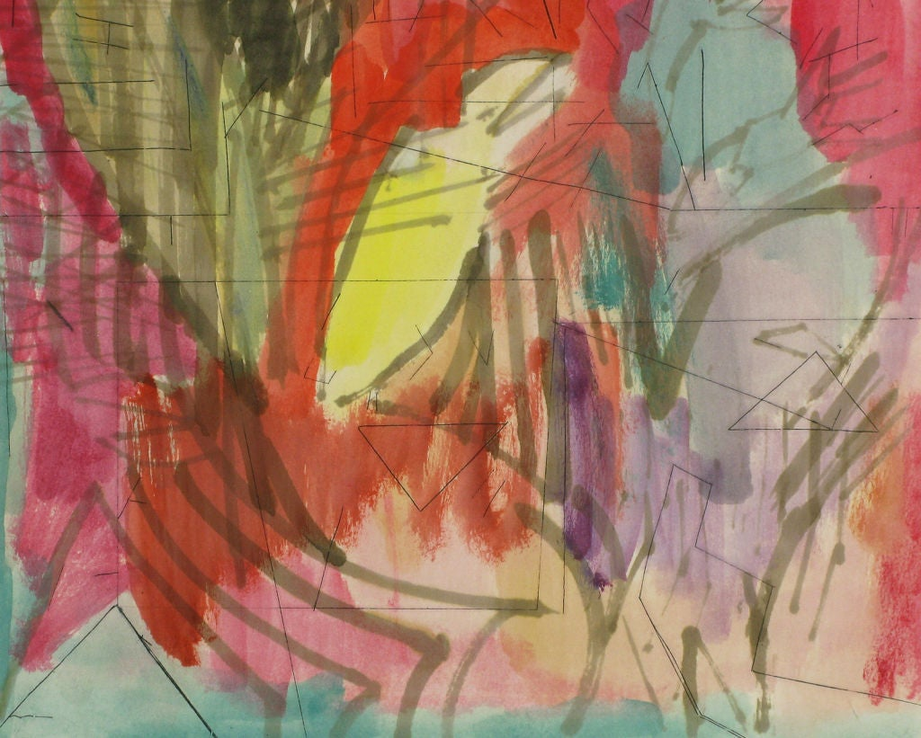 Late 20th Century Jewel Toned Abstract Water Color & Ink Painting For Sale
