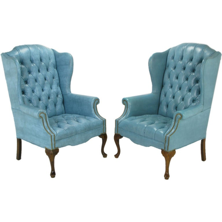 Red Wingback Chair Pair Button-Tufted Columbia Blue Wing Chairs at 1stdibs