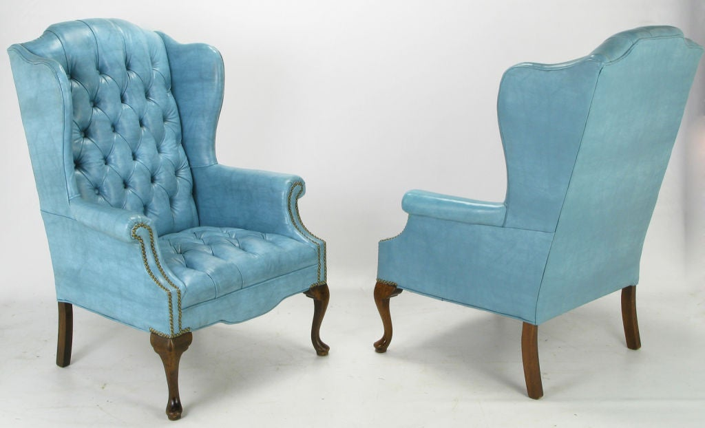 Pair Button Tufted Columbia Blue Wing Chairs At 1stdibs