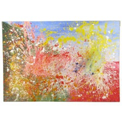 """1976 Huge & Colorful Splatter 91"""" x 63"""" Abstract Oil On Canvas"""