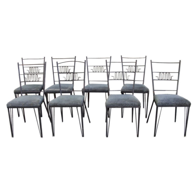 Set Of 8 1950 S Modernist Wrought Iron Chairs At 1stdibs
