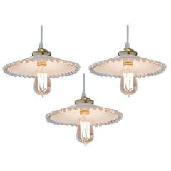 French Hanging Light Fixtures with Antique Shades, circa 1900