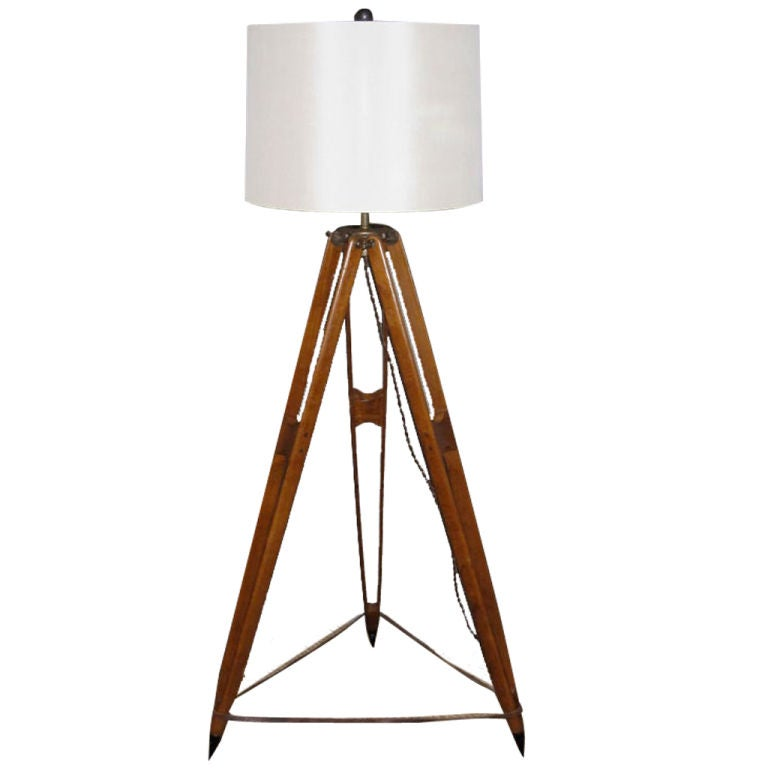 A surveyor tripod floor lamp at 1stdibs for Surveyors floor lamp wood