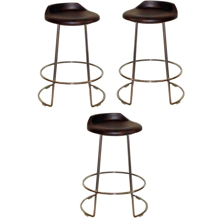 A Set Of Three Mcguire Counter Stools At 1stdibs