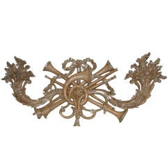 French Carved Painted & Parcel Silver Gilt Plaque