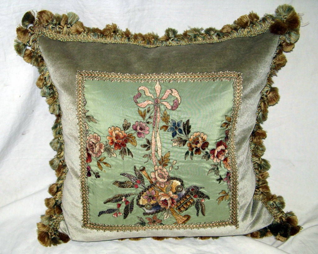 Pair of 19th C. French Embroidered Pillows with Tassel Fringe image 2