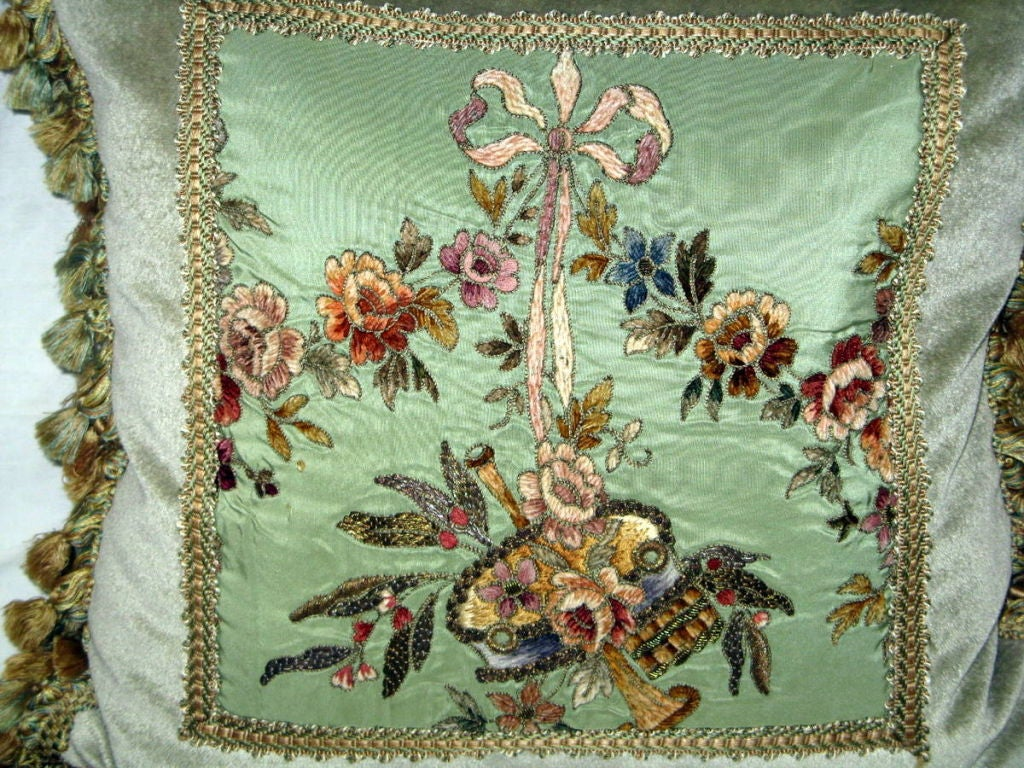 Pair of 19th C. French Embroidered Pillows with Tassel Fringe image 3