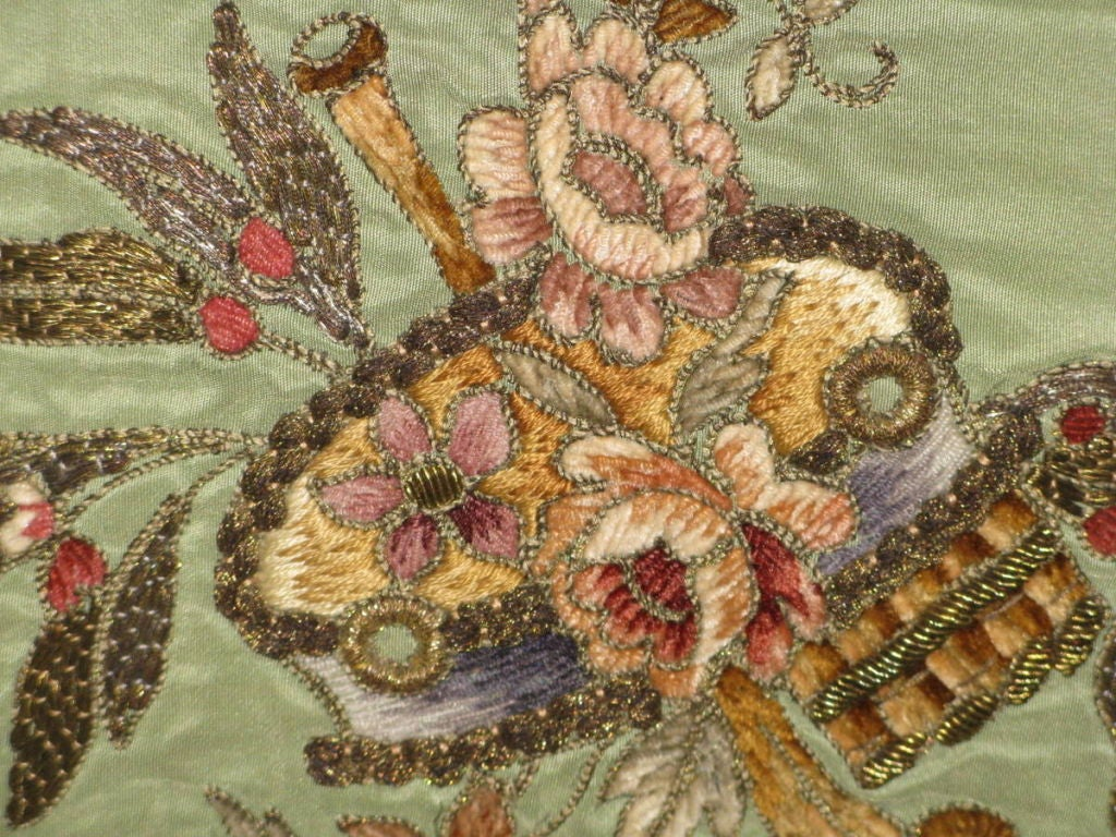 Pair of 19th C. French Embroidered Pillows with Tassel Fringe image 5