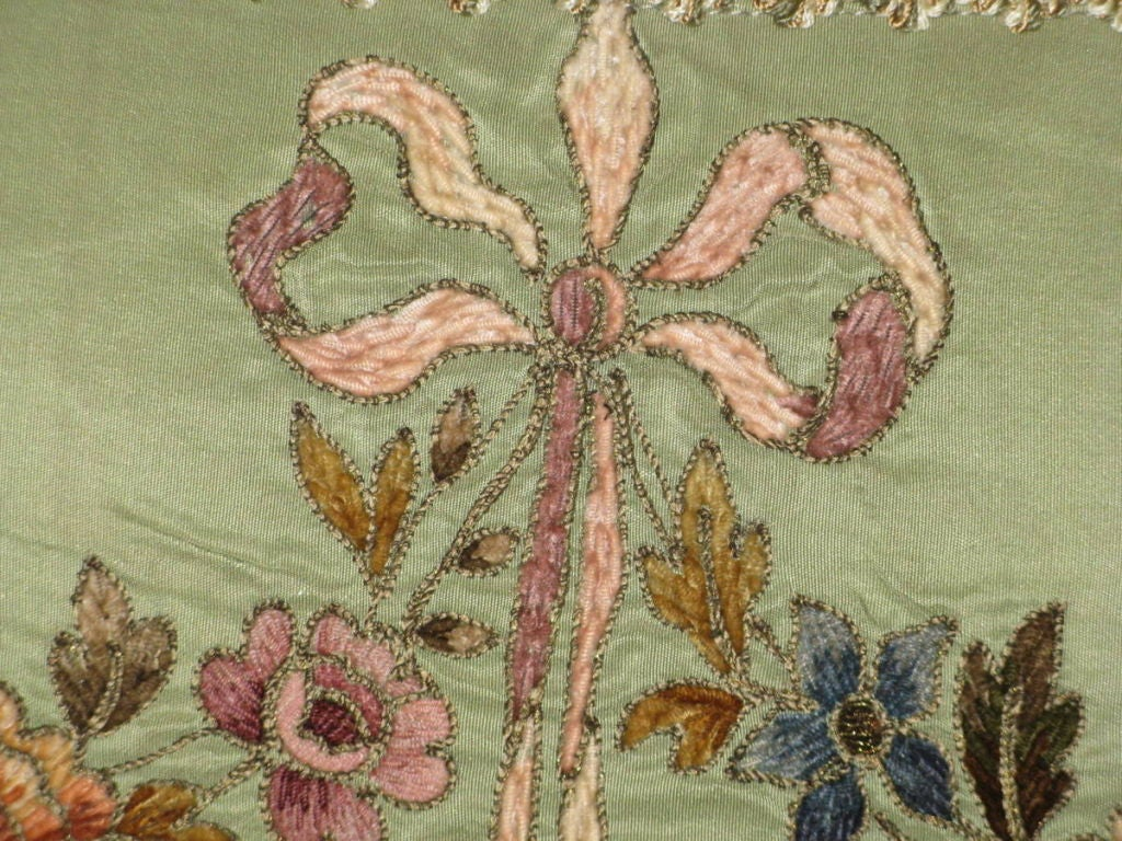 Pair of 19th C. French Embroidered Pillows with Tassel Fringe image 6