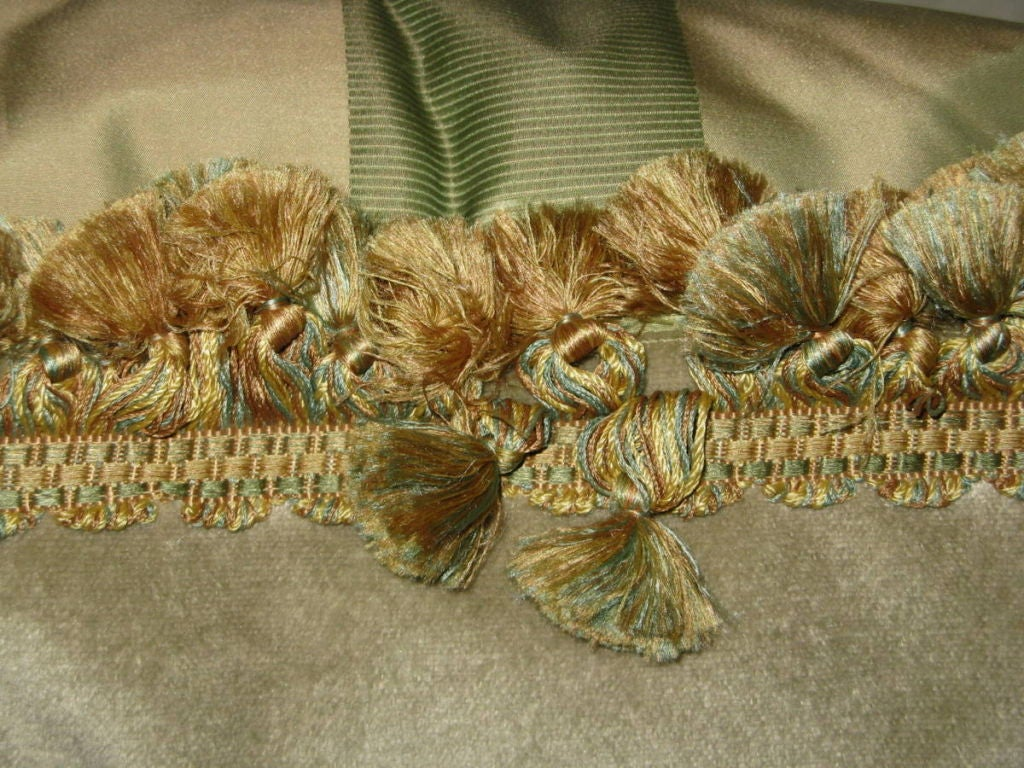 Pair of 19th C. French Embroidered Pillows with Tassel Fringe image 7