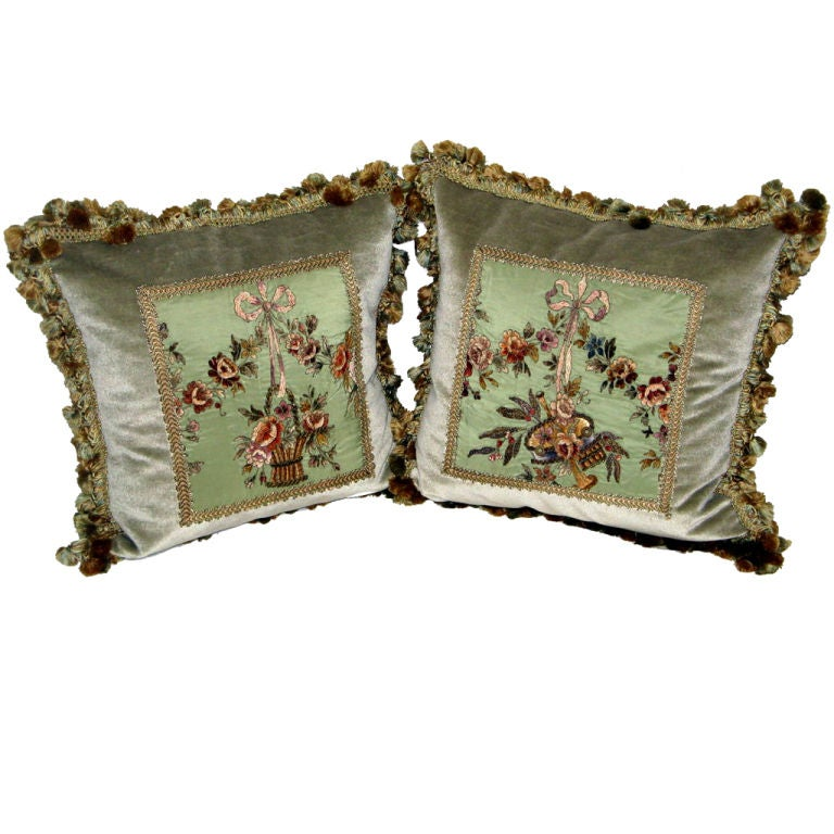 Pair of 19th C. French Embroidered Pillows with Tassel Fringe