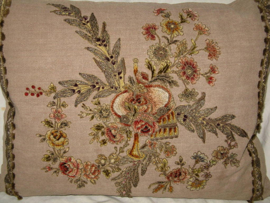 Embroidered Pair of 19th C French Appliqued Linen Pillows For Sale