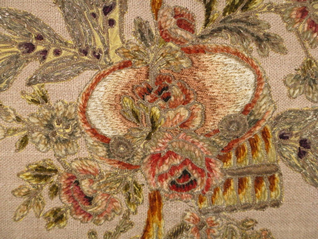 19th Century Pair of 19th C French Appliqued Linen Pillows For Sale