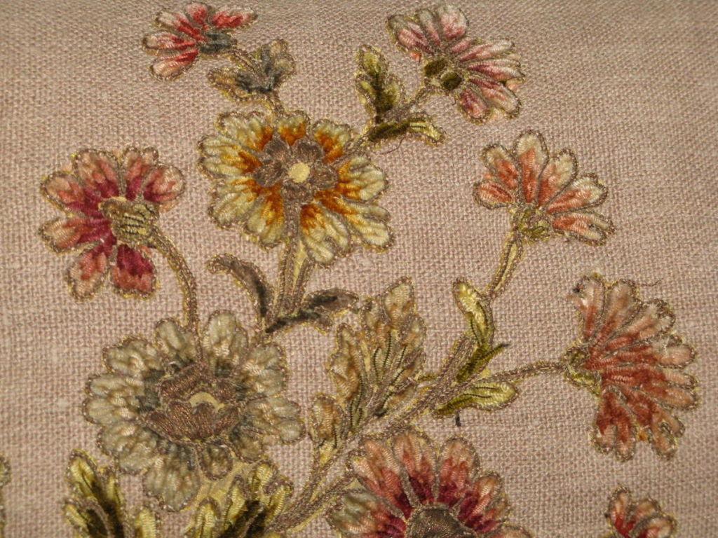 Chenille Pair of 19th C French Appliqued Linen Pillows For Sale