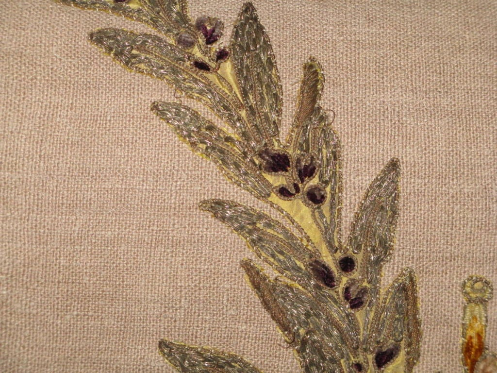 Pair of 19th C French Appliqued Linen Pillows For Sale 1