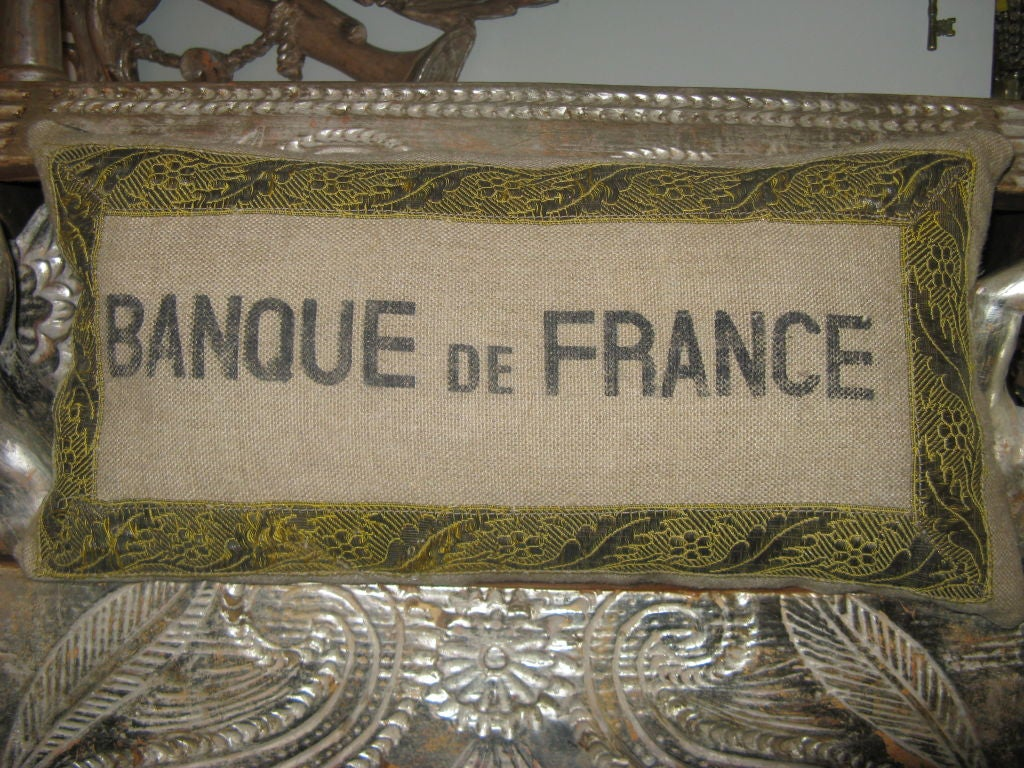 Pair Of French Burlap Kidney Pillows C 1900 S At 1stdibs