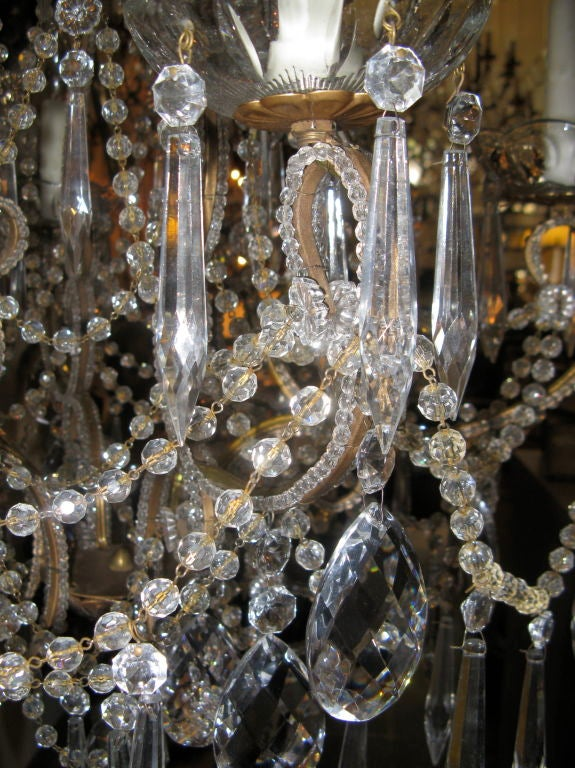 Crystal And Beaded Italian Style Chandelier At 1stdibs