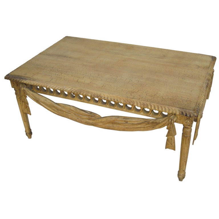 Carved wood painted coffee table with crackled finish c 1980 at 1stdibs Carved wood coffee table
