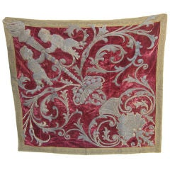 18th C. Italian Metallic Embroidered Velvet Wall Hanging