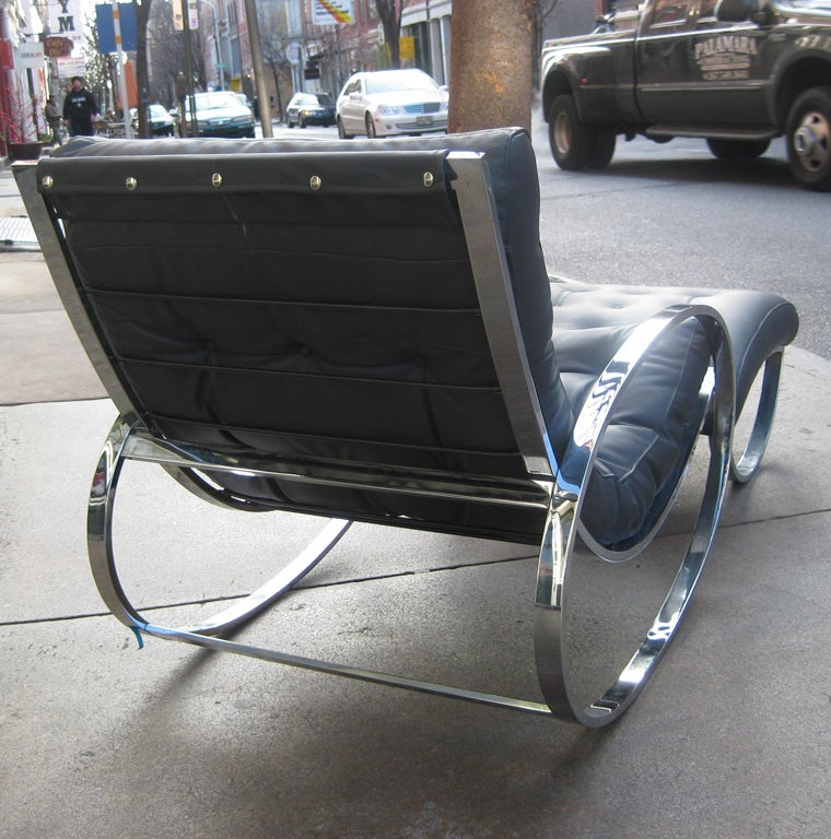 Italian chrome rocking chair in the style of Milo Baughman 1