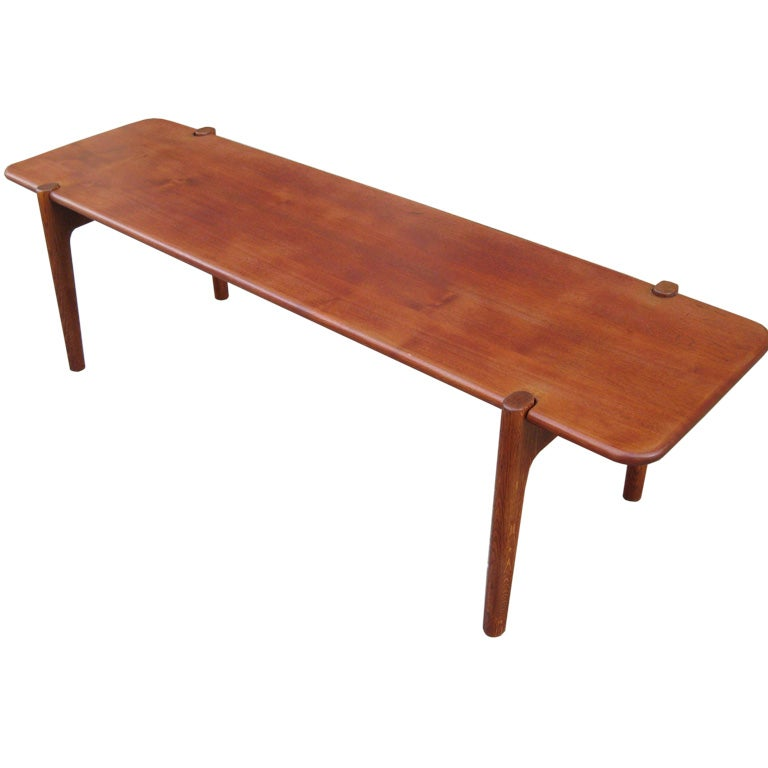 Hans wegner for johnnes hansen solid teak coffee table at 1stdibs Solid teak coffee table