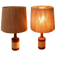 Pair of Danish Teak Lamps with String Shades