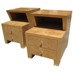 Pair of Red Lion Burled Nightstands with Polished Brass