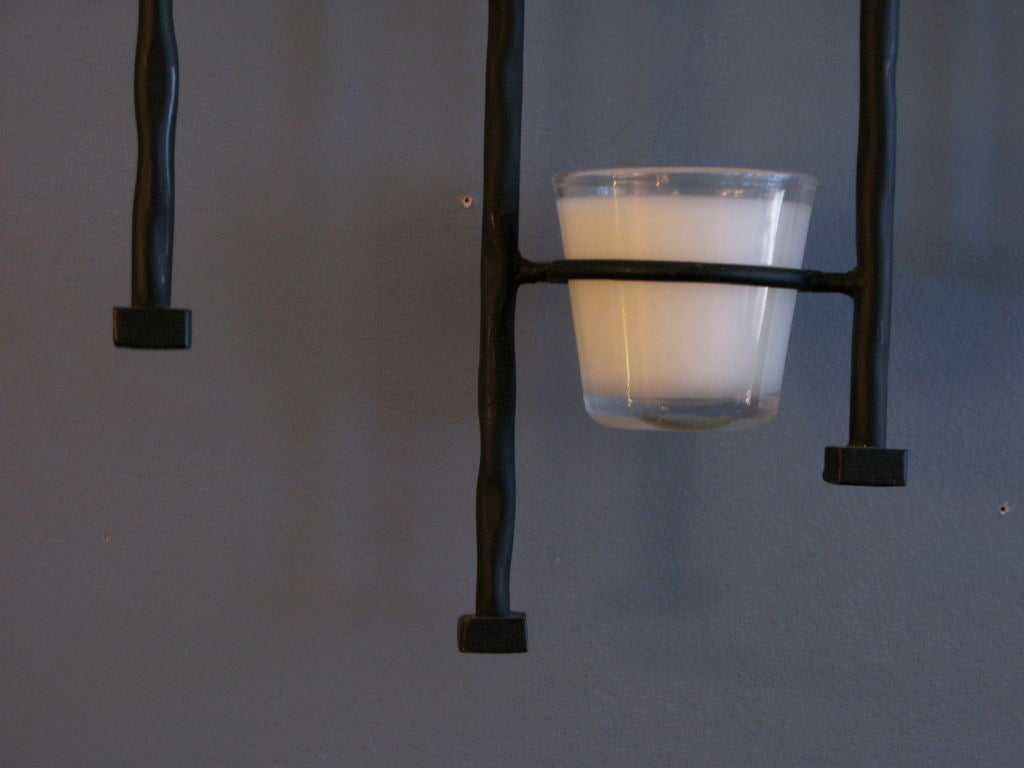 Iron Candle Holder Wall Sconce : Wall Mounted Wrought Iron Candle Sconce at 1stdibs