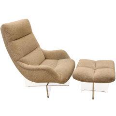Vladimir Kagan Swivel Lounge Chair & Ottoman