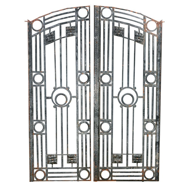 Pair Of French Antique Art Deco Style Iron Gates And