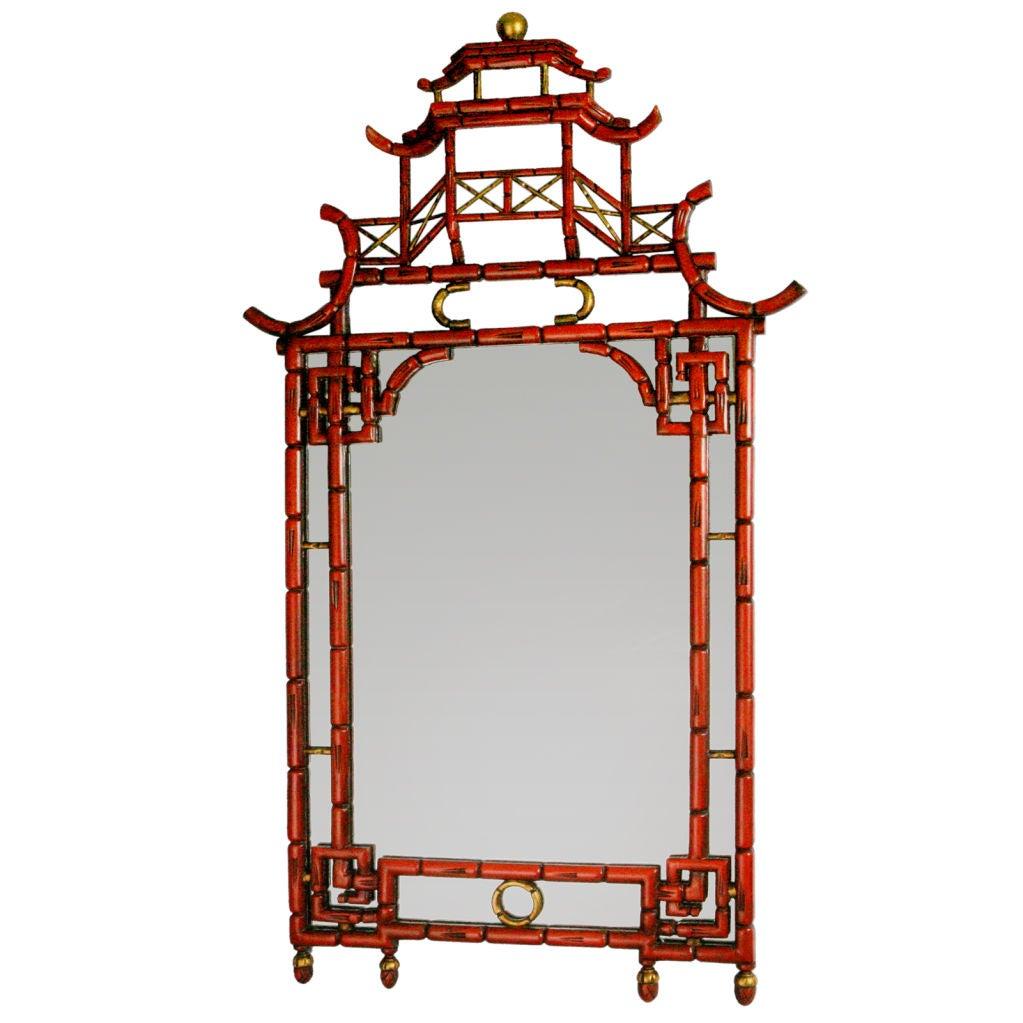 Lacquered Pagoda Mirror At 1stdibs