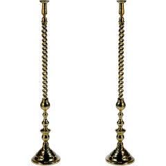 Pair of Brass Floor Candlesticks