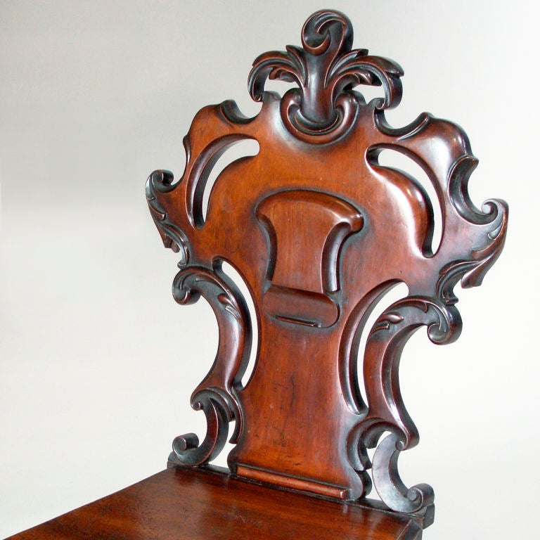 English Mahogany Hall Chairs For Sale