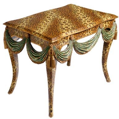 FAUX LEOPARD PAINTED TABLE