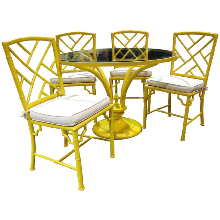 5 Piece Faux Bamboo Chinese Chippendale Style Patio Set At
