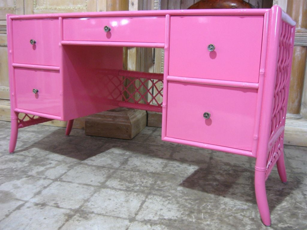 Superb Lattice sides and back hot pink lacquered bamboo #desk, with elegant curved legs and form, wonderful storage and work space. Beautiful in a bedroom as vanity or desk, in a #living room or den with the #chair or #bench of your choice.